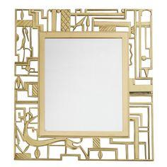 Art Decó Cast Brass Wall Mirror (c.1924) by Karl Hagenauer for Werkstätten Hagenauer, Austria