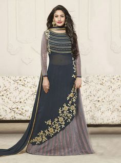 Buy Surbhi Chandna Gray Georgette Long Choli Lehenga 85476 online at best price from vast collection of Lehenga Choli and Chaniya Choli at Indianclothstore.com.