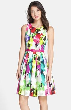 Free shipping and returns on Eliza J Belted Print Faille Fit & Flare Dress at Nordstrom.com. Modern neons refresh the classic flower print throughout this crisp woven-faille dress that's belted at the pleated waist.