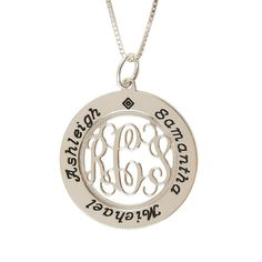 With her filigree monogram in the center and names around the edge, this pendant necklace is truly special. Personalized with children's names, grandchildren's names, a personal message or special date - the options are unlimited with this personalized necklace.