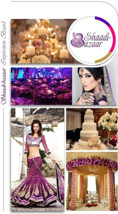 wedding inspiration board, south asian wedding colors violet hot pink and gold wedding colors #shaadibazaar