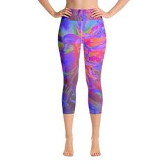 $49 · These yoga capri leggings with a high, elastic waistband are the perfect choice for yoga, the gym, or simply a comfortable evening at home. This Original Digital Oil Painting by My Rubio Garden… Workout Capris, Waist Workout, Yoga Capris, Workout Leggings, Yoga Pants, White Capri Leggings, Yoga Leggings, Women's Leggings, Capri Pants