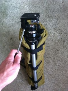 Tripod can be carried under bag and also used quickly as a stand.