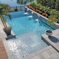 Elegant and tropical-inspired design for this poolside and flowerbed //// A mix of elegance and exoticism for this swimming pool and flowerbeds Amazing Swimming Pools, Small Swimming Pools, Swimming Pools Backyard, Swimming Pool Designs, Backyard Pool Landscaping, Backyard Pool Designs, Small Backyard Pools, Outdoor Pool, Small Backyards