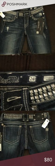 Miss me jeans NWT miss me signature dark wash .. see pics they are beautiful ... ... !!!  :-)))) they have rivets and stones all the way around the waist Miss Me Jeans Straight Leg