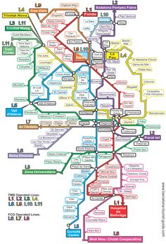 Barcelona metro map: Click on the map to see a magnified version.