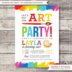 Printable Art Party Invitation - Rainbow Paint Party Birthday Invite DIY - paint arts crafts boy or girl invitation child children Art Party Invitations, Birthday Invitations, Invitation Templates, Invitation Ideas, Art Birthday, 6th Birthday Parties, Birthday Nails, Birthday Ideas, Kunst Party