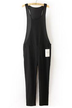 Black Spaghetti Strap Side Zipper Chiffon Jumpsuit