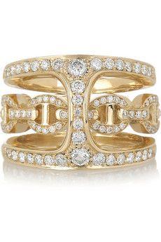 Phantom 18-karat gold and diamond double ring