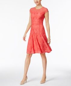NY Collection Petite Lace Fit & Flare Dress | macys.com