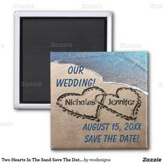 Two Hearts In The Sand Save The Date Magnet Refrigerator Magnet