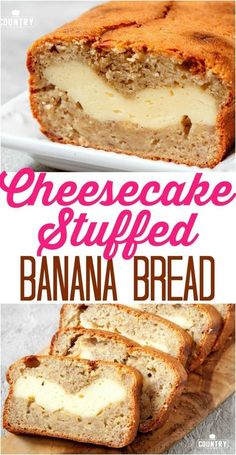 Cheesecake stuffed banana bread Cheesecake Stuffed Banana Bread is an easy homemade banana bread recipe that has a ribbon of cheesecake going through the middle. - Cheesecake Stuffed Banana Bread recipe from The Country Cook Just Desserts, Delicious Desserts, Dessert Recipes, Yummy Food, Dessert Ideas, Healthy Food, Homemade Banana Bread, Homemade Vanilla, Homemade Breads