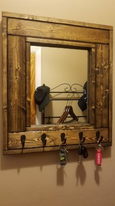 Millwood Mirror with Hooks – Customize With Up To 5 Single Hooks – Shown Dark Walnut – Rustic Decor – Decorative Mirror - Wall Hooks Types Of Furniture, Furniture Projects, Wood Projects, Entryway Mirror, Entryway Decor, Stain Colors, Wall Colors, Barn Wood Picture Frames, Mirror With Hooks