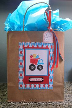 Gift Bag my friend Susan made for Andrew's birthday gift with stamps and paper from Stampin' Up. It's so cute!