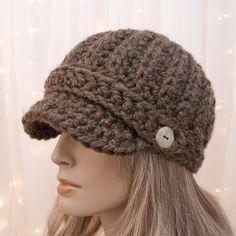 Crochet el sombrero de vendedor de periódicos - marrón de vendedor de periódicos - madera - lana - hecho a la medida