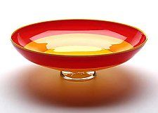 Red, Orange & Yellow Incalmo Bowl by Nicholas Kekic. Blown glass incalmo bowl with a clear base, red, orange and yellow bands, and finished with yellow lip wrap. Dimensions may vary slightly. Signed on bottom. Fused Glass Bowl, Glass Bowls, Different Forms Of Art, Glass Design, Orange Yellow, Decorative Bowls, Glass Art, Red, Fruit Bowls
