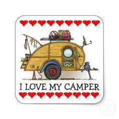 Cute RV Vintage Teardrop  Camper Travel Trailer Stickers