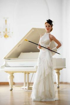 Masculine Bridal Gear - Marina Danilova's Wedding Shoot Adds Tiny Top Hat & Pimp Cane (GALLERY)