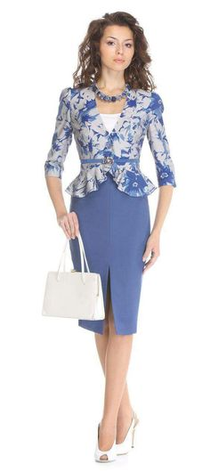 Pretty peplum jacket and skirt in blue