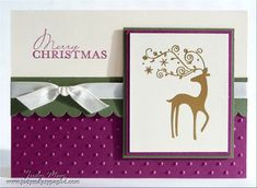 Lovely colour palette of purple, sage and muted gold on this elegant holiday card.