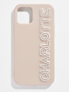 """BAUBLEBAR x OFF MY CASE: From our best-selling Off My Case collaboration. This case fits up to 12 characters so you can personalize however you'd like, from meaningful initials to a favorite name. Our one-of-a-kind designs feature raised acrylic letters for a fun 3D effect. <br><br>This item is final sale and cannot be cancelled.</br> <div class=""""productProperties productPropertiesLink""""> Shop the entire phone case collection <a href=""""/category/personalized/custom-phone-cases.html""""> Acrylic Letters, Bracelet Sizes, Custom Items, Initials, Iphone Cases, Beige, Final Sale, Collaboration, Characters"""