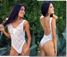Just released, the sexy Sheer White Lace One Piece Swimsuit by Brigitewear - Palm Springs at: https://www.brigitewear.com/White-Lace-One-Piece-Swimsuit.html