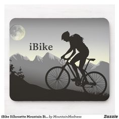Shop iBike Silhouette Mountain Bike Moon n Mountains Mouse Pad created by MountainMadness. Mountain Biking, Hardtail Mountain Bike, Bike Silhouette, Cool Silhouettes, Bike Pump, Custom Mouse Pads, Bicycle Design, Birthday Cards, 9th Birthday