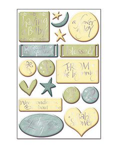 SWEET BEGINNINGS GOLD FOIL 3-D Epoxy Sticker Sheet scrapbooking 99 CENT SALE!