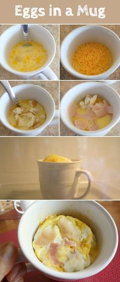 "Quick breakfast foods – easy to make breakfast foods Eggs in a Mug ""Did you know you can make scrambled eggs in a mug with a microwave? Easy, fast, and portable breakfast or snack for college students or others in a hurry."" Comments: ""How long do we leave it in the microwave? Her website says: microwave on high 2 1/2 to 3 minutes How many eggs can u do at a time? 2 Anything in a microwave shouldn't be considered a health snack though…just saying I cook eggs in microwave and sometimes it…"