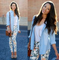 Light Blue Lapel Long Sleeve Bleached Denim Blouse - Sheinside.com