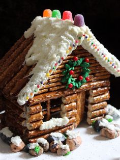 """Country-Style Gingerbread Houses - Gingerbread Houses - Country Living!!!  Bebe'!!! """"Gingerbread Style"""" Pretzel Country Cabin!!!"""