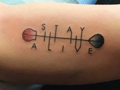 Twenty-One Pilots tattoo my Boyfriend got! #twentyonepilots #tattoo #innerarm #guy #innerbicep #arm #color #font #21pilots