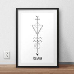 Astrology Arrows: Aquarius Wall Art // Zodiac Signs // Digital Print // Minimalist // By Alcateia Art