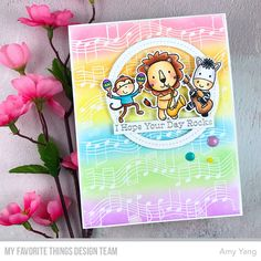 Stamps: Jungle Vibes, Musical Notes Background  Die-namics: Jungle Vibes, Single Stitch Line Circle Frames    Amy Yang    #mftstamps