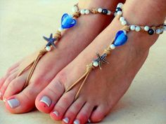Barefoot Sandals, Foot jewelry, hippie shoe, Wedding, Sexy, Yoga, Anklet UY6