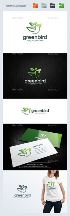 Green Bird Logo Template — Vector EPS #organic #nutrition • Available here → https://graphicriver.net/item/green-bird-logo-template/17354855?ref=pxcr