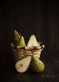Clafouti de peras y almendras de Julia Child. Receta francesa.