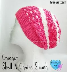 Crochet Shell N Chains Slouch - free pattern. This slouch is easy and lacy with shell and chains.