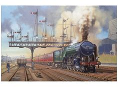 """STIRLING DEPARTURE - Peppercorn class locomotive 60532 """"Blue Peter"""" by Eric Bottomley GRA. One of the finest steam locomotives ever built in Britain, the Class, designed by Arthur Peppercorn were also one of the most powerful. Stirling, Foto Top, Blue Peter, Milwaukee Road, Steam Railway, Bonde, Train Art, Railway Posters, British Rail"""