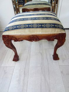 Victorian Cabriolet Leg Stool In Walnut Ball And Claw Foot