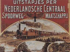 Lekker weg met de trein! Op de achtergrond is nog net onze Domtoren zichtbaar. Reclame uit begin 20e eeuw (?)
