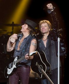 """Richie Sambora and Jon Bon Jovi. The boys from New Jersey rolled through Nashville the other night and kept the sold out audience on their feet. The tour is aptly named """"Because We Can."""" and that would be nothing short of the truth for them and their fans."""