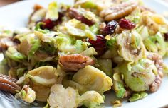 Buttery Brussels Sprouts with Sage, Dried Cranberries and Pecans Recipe via @SparkPeople  I will try this,even though brussel sprouts are my mortal enemy