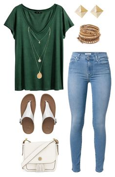 """Untitled #2471"" by abbyolson on Polyvore featuring H&M, 7 For All Mankind, Tory Burch, FitFlop and Chan Luu"