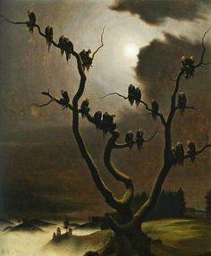 Franz Sedlacek - Ghosts on a Tree, oil on canvas, Albertina Museum, Vienna . Franz Sedlacek was an Austrian painter. Arte Horror, Horror Art, Creepy Art, Weird Art, Albertina Wien, Arte Black, Arte Obscura, Images Gif, Art Sculpture