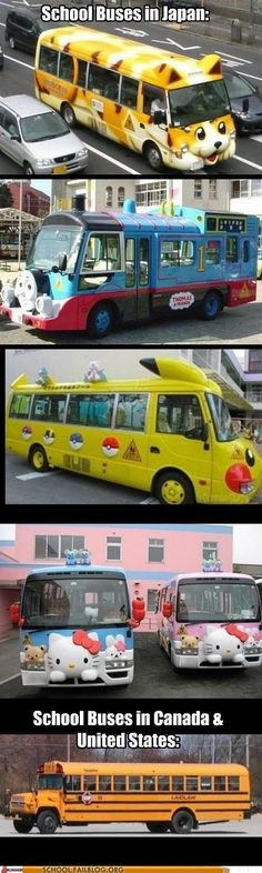 No fair! I want a bus like that! Maybe not Hello Kitty or Thomas the Tank Engine, but still! I want a cool bus! Funny Shit, The Funny, Funny Memes, Hilarious, Funny Stuff, Otaku, Japon Tokyo, Pokemon, Go To Japan