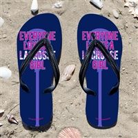 Everyone Loves A Lacrosse Girl on Navy Flip Flops - Kick back after a lacrosse game with these great flip flops! Fun and functional flip flops for all lacrosse players and fans.