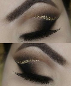 Amazing eye makeup looks, gold glitter crease.