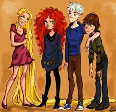 The Big Four: Rapunzel, Merida, Jack, and Hiccup.