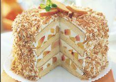 Coconut-peach layer cake
